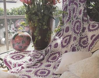 Crochet Pattern Blanket Afghan, Motif Pattern, Lavender & Lace, Home Decor, Bedspread, Sofa Throw, Bedding, Annie's Crochet Quilt