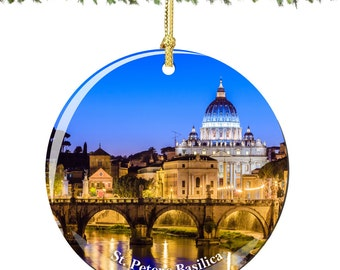 St Peter's Basilica Christmas Ornament of the Vatican in Porcelain, Double Sided 2.75 Inches