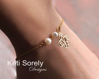 Cross Monogram Bracelet or Anklet With Pearl Beads - Freshwater Pearls - Personalized Initials - Sterling Silver, Yellow Gold, Rose Gold
