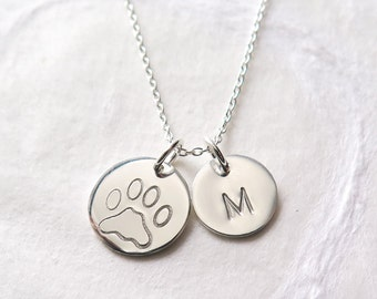 Pet Memorial Necklace, Personalized, Dog Lover Necklace, Cat Lover Gift, Pet Loss, In Memory of Dog, Hand Stamped Initial, Sterling Silver