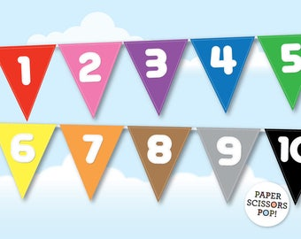 Counting Tool Numbers Banner, Classroom Decor, Learn to Count, Numbers Poster, Rainbow Numbers, Rainbow Banner, Learn your Colors