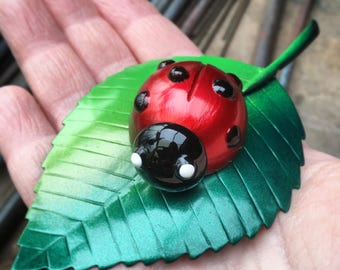 Ladybird on Leaf - painted