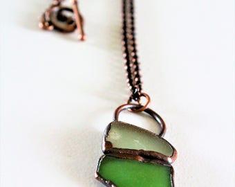 Electroformed Seaglass Necklace | Seaglass Copper Necklace | Oxidized Copper Necklace