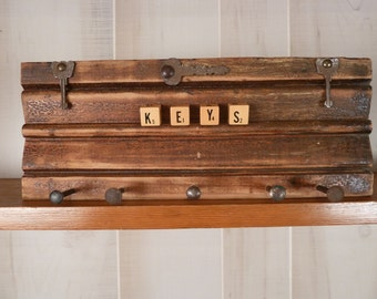 Rustic Architectural Salvage Key Rack Distressed Wood Wall Rack