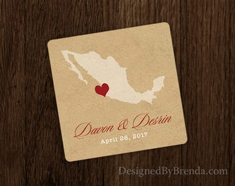 Vintage Style Wedding Favor Coasters with State or Country on Rustic Kraft Background - Inexpensive Paper Coaster - Names and Wedding Date
