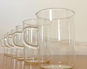 Vintage Schott Verran Glass Mugs -- Set of 6