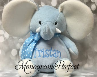 "16"" Personalized Blue Plush Stuffed Elephant Soft Toy"