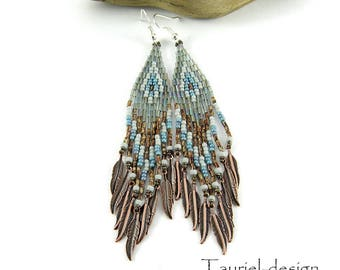 Beaded Earrings Native American inspired, ethnic earrings, boho earrings, ethnic earrings, dangle earrings, earthy colors, Ice and Soil