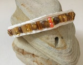 Single Wrap Beaded Bracelet with hammered silver button closure, BoHo Beaded Wrap Bracelet, White cotton cord, Earthtone beads, Handmade