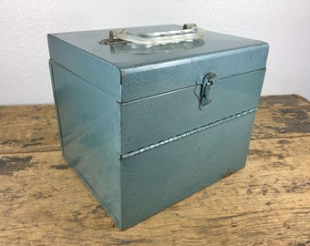 Industrial Blue Metal File Box Storage Container