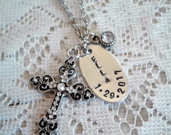 Personalized Cross Necklace, Ornate Cross Necklace, Rhinestone Cross Necklace, Hand Stamped Name Necklace, Customized Long Charm Necklace