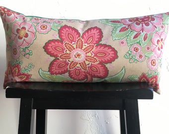 SET Spring Pillow Covers, 12x24 Lumbar Pillows, Annie Selke Floral Pillow Covers, Rasberry and Kelly Green Decorative Pillow Covers