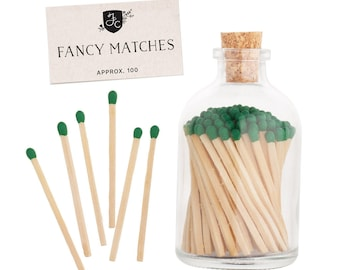 Forest Matchstick Jar™ with Forest Green fancy colored matches. Stocking Stuffer. Green matches. Home decor. Farmhouse decor. Gifts for her.