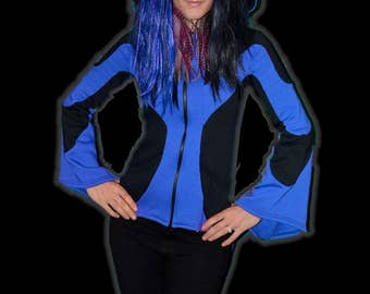 30% Off SALE!  Blue/Black Tailcoat Jacket with Pointed Hood