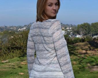 SALE Grey Stripes Sweater