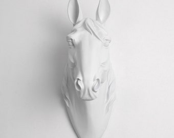 The Daiquiri - Large Faux Horse Head - Equine Art - White Resin Horse Head Mounted- Faux Head Wall Mount - White Faux Taxidermy Fauxidermy