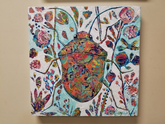Beetle garden painting, Hidden Garden collection, textured beetle design with abstract colorful flowers, leaves and stems 16 x 16