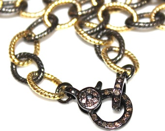 Diamond Lock Necklace Black Gold Necklace Mixed Metal Necklace Diamond Necklace Diamond Jewelry Stacking Necklace Pave Necklace Lock Jewel