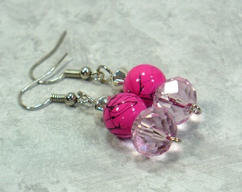 Think Pink Earrings: Two-Tone Pink Fashion Earrings, Nickle-Free Earwires, Women's Earrings, Handmade in the USA, Ready to Ship