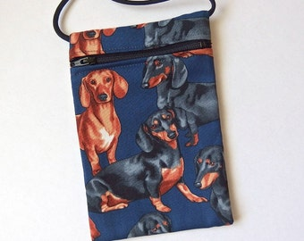 """Pouch Zip Bag DACHSHUND Fabric.  Puppy pouch. Great for walkers, markets, travel. Cell phone pouch. small fabric purse.   6.5"""" x 4.5"""""""
