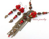 Red Jewelry Red Roses Valentines Gift Flower Jewelry Necklace Earrings Set Red Earrings Handmade Jewelry Coral Jewelry Roses Jewelry