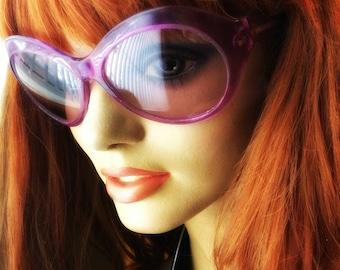 1960s Purple Bug Eyes, Round Hippie Sunglasses, Bono U2 Glasses, Italian Vintage, Wrap Around Fly Shades, Gift for Her, Vintage Christmas