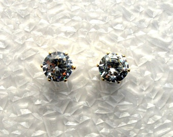 Faceted 8 mm Cubic Zirconia  Magnetic Non Pierced Clip On Earrings
