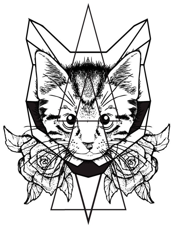 cat roses temporary tattoo geometric cat temporary tattoo. Black Bedroom Furniture Sets. Home Design Ideas