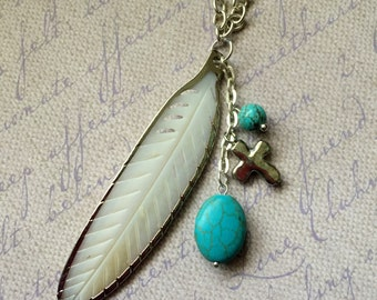 Feather Boho Pendant Shell Turquoise Howlite Cross Charm Silver Long Necklace Bohemian Chic Fashion Jewelry FREE Shipping Paisley Beading