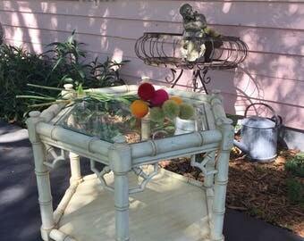 FAUX BAMBOO END Table, Fretwork, Hexagon, Thomasville, Allegro, Chippendale, Chinoiserie, Regency, Palm Beach Coastal at Ageless Alchemy