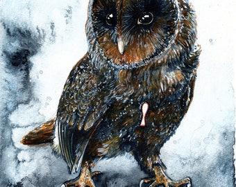 Clockwork Warden: Fine Art Watercolour Owl Print
