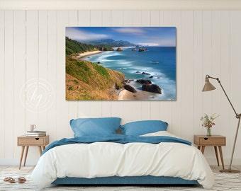Large Wall Art Canvas Gallery Wrap Aqua Teal Blue Beach Decor Cannon Beach Oregon Pacific Northwest Coastal Photography Oversize Photo Print