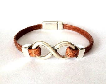 Leather bracelet, Mens bracelet,  Leather bracelet for men,  women Bracelet, Infinity bracelet, infinity charm