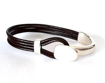 leather bracelet,  button clasp, Mens bracelet, Leather bracelet for men,  husband gift, cool bracelet, personalized bracelet