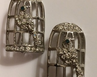 Pretty Pair of Vintage Birds with Cage Brooches ~ Scatter Pins ~ Silvertone with Rhinestones