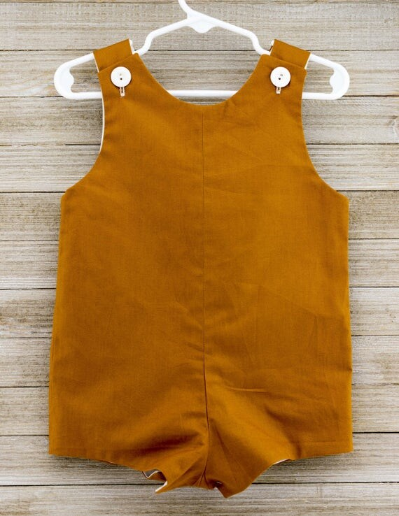 Custom made Brown Jon Jon/ Romper. Perfect for a day of play, on the farm or in the woods!