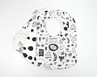 SPECIAL PRICE** Baby Bibs, Set of 3, Gender Neutral, Drool Bib, Baby Shower Gift, black and white, animals, newborn, 3 months to 2 years+