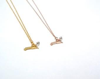 Colt Pistol pendant. Rose gold. Gold. Silver. Gun necklace.