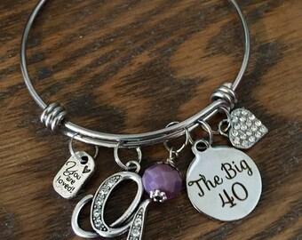 40th BIRTHDAY GIFT, The Big 40, womens birthday Jewelry, Initial Jewelry, birthstone Bracelet, Gifts for friend milestone birthday