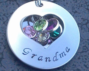 Grandma Gift Personalized Locket Keychain Includes Swarvoski Crystals Perfect for Mom or Grandmas Gift