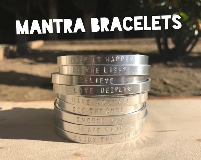 Mantra Handstamped Bracelets, Inspirational Bracelets