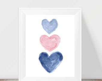 Pink and Navy Wall Decor, Pale Pink and Navy Girls Decor, Navy and Pink Nursery Decor, Blue and Pink Art for Girls, Navy and Pink Kids Decor
