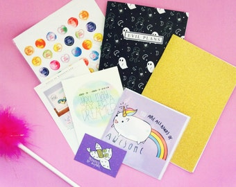 Mystery Box | Stationery Lucky Dip Box: surprise collection of cards & notebooks stationery. A little magic mystery box of Kawaii!