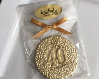 Chocolate Number Forty #40 Gold Dusted Decorative Favors Birthday Party Candy Anniversary Fortieth