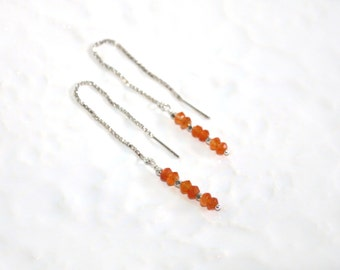 Orange Carnelian & Hill Tribe Fine Silver Beads Sterling Silver Threader Earrings by Kaya Jewelry, Silver Earrings, Gemstone Bar Earrings