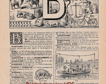 Letter B Monogram Dictionary Page Instant Download, Vintage French Book Page to Print, 1920s Paper Ephemera, Wall Decor, Scrapbooking Art