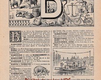 Vintage French Dictionary Page LetterB for download, Paper Ephemera, Vintage Paper Scan, 1920s Alphabet, Nouveau Petit LaRousse Illustré