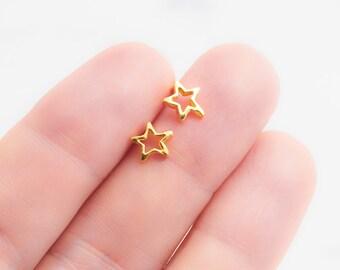 Hokulani Earring- Stud Earring, Gold Earring, Gold Star Earring, Star Stud Earring, Open Stud Earring, Star Post Earring, Hawaii Jewelry