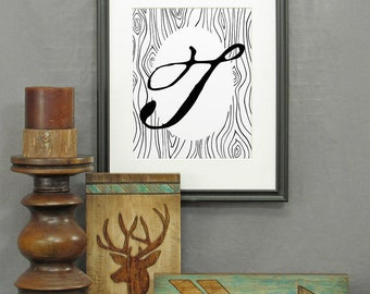 Letter T Print, printable, large letter art, typography, monogram, modern rustic décor, alphabet, initials, poster, wall art, historical