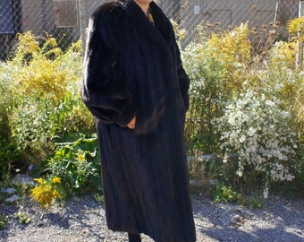 DARK MINK DECADENCE 1980's Glamorous & Sumptuous Full Length Black Mink Fur Coat, by Electra Furs